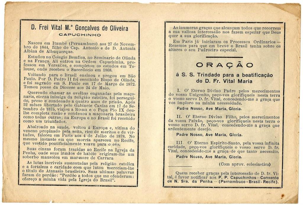 Biografia de Dom Vital e oração pela sua beatificação