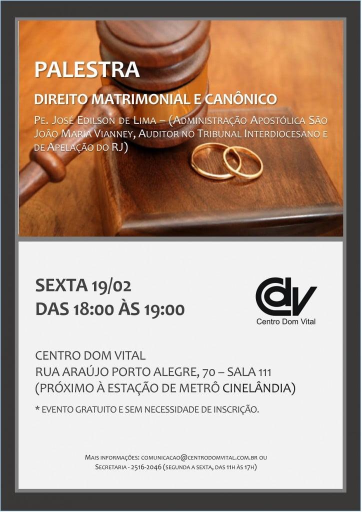 Cartaz - Direito Matrimonial e Canonico