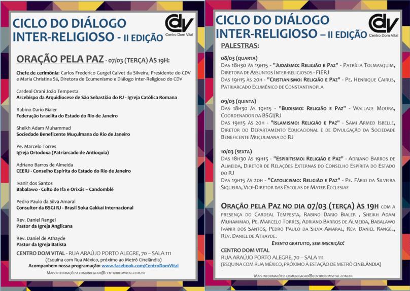 CDV realizará a II Edição do Ciclo do Diálogo Inter-Religioso