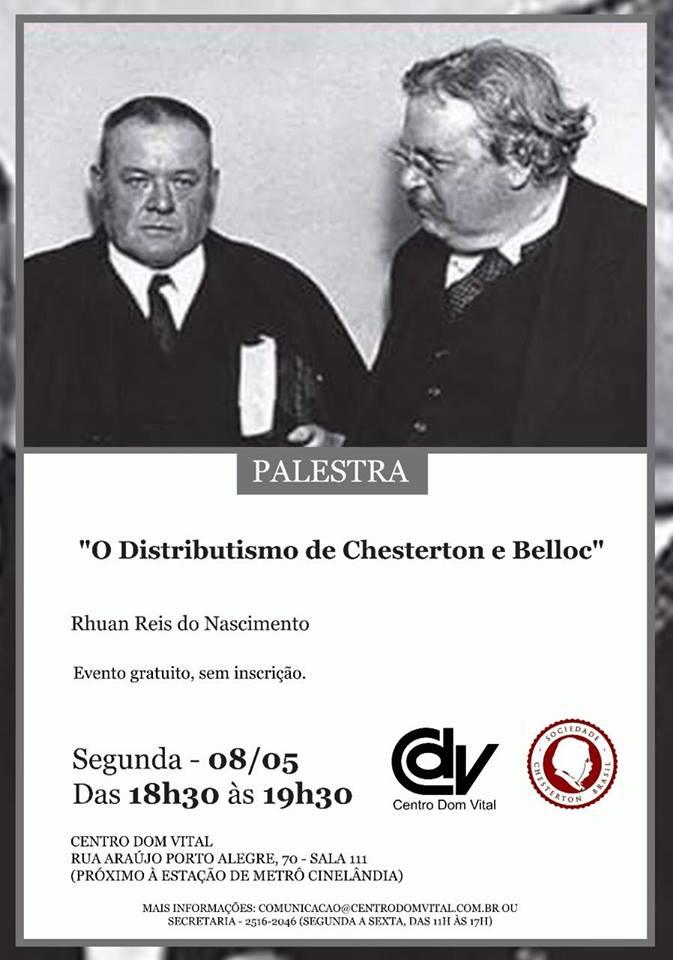 """Palestra """"O Distributismo de Chesterton e Belloc"""""""