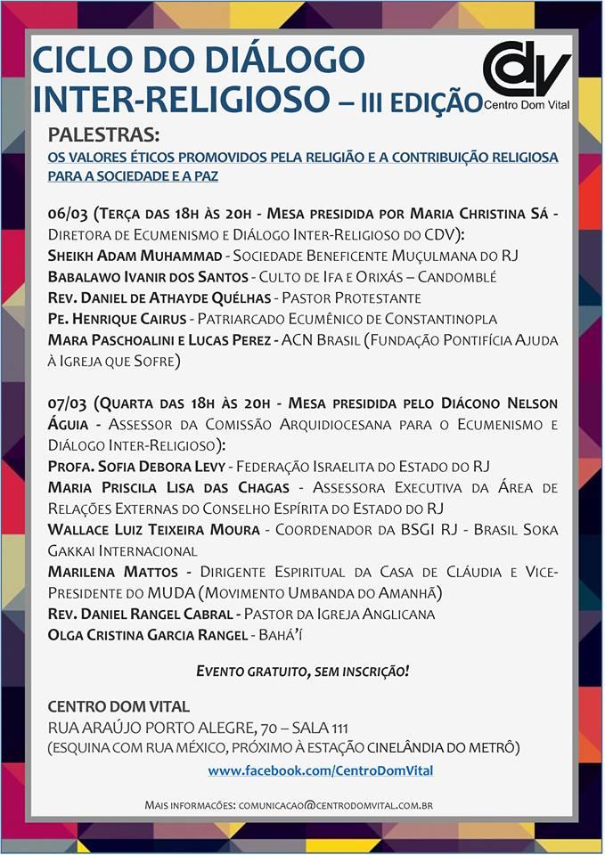 III Edição do Ciclo do Diálogo Inter-Religioso