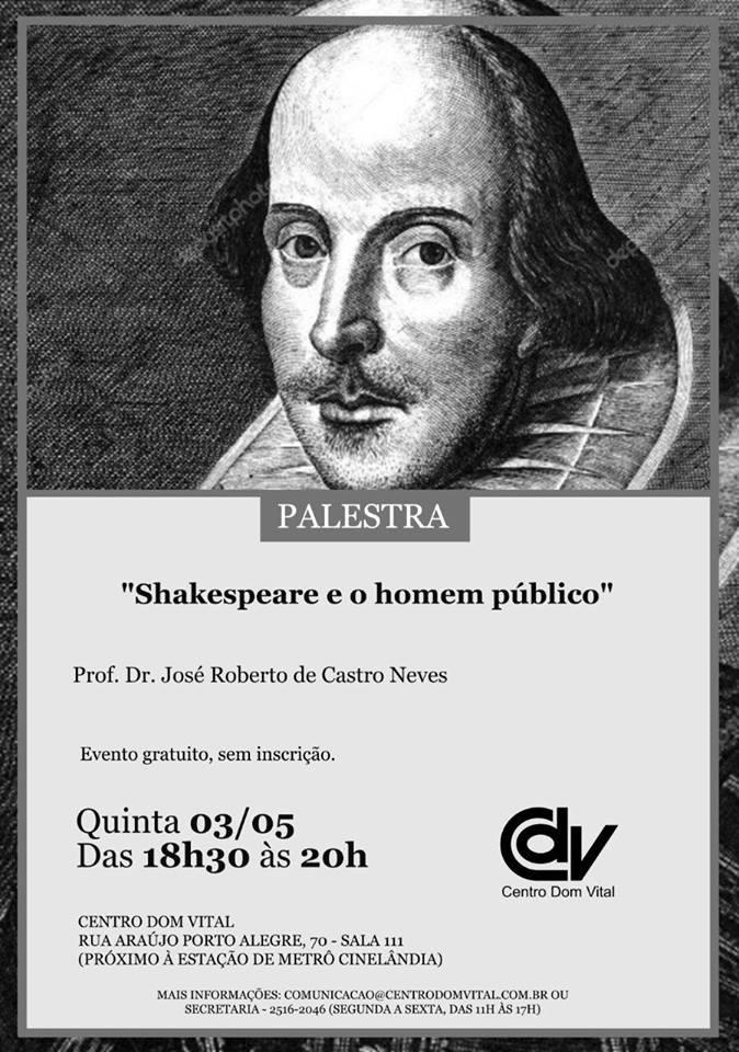 """Palestra """"Shakespeare e o homem público"""""""