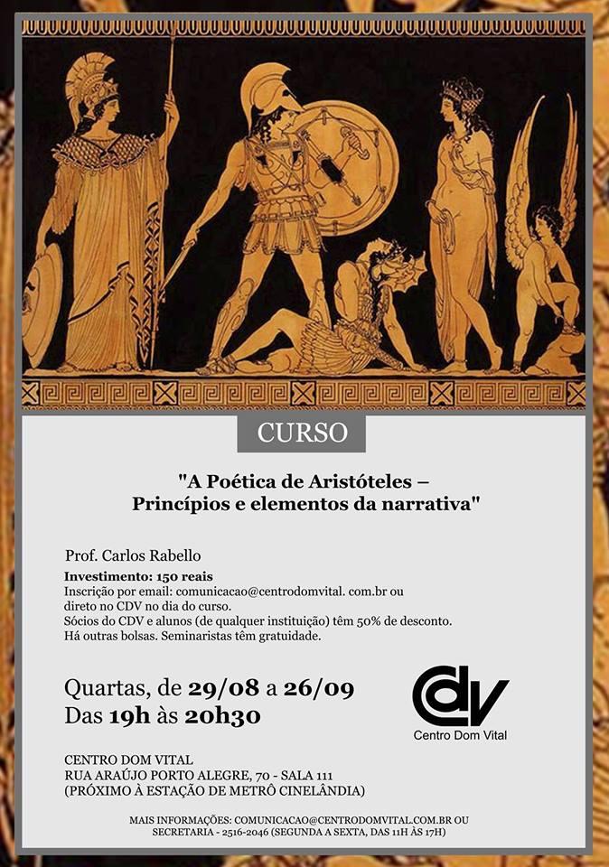 """Curso """"A Poética de Aristóteles – Princípios e elementos da narrativa"""""""