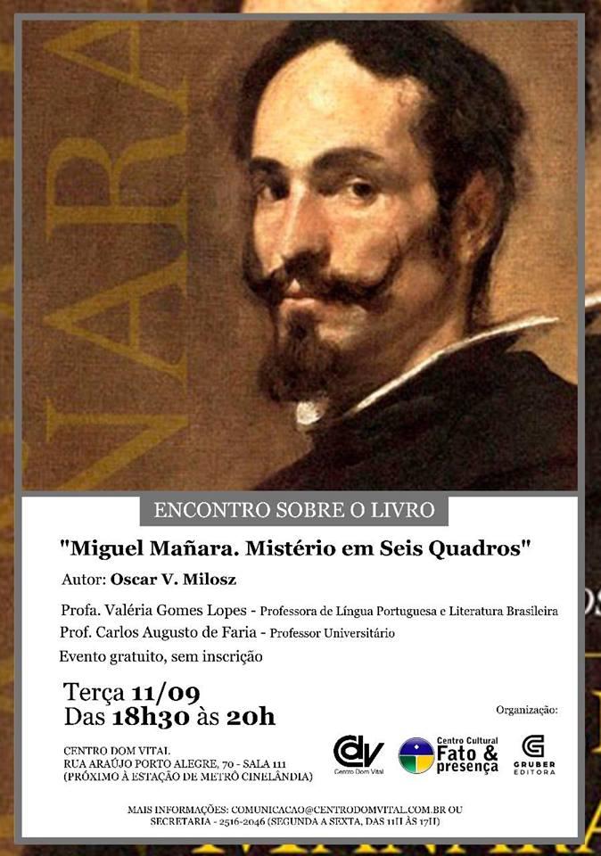 """Encontro sobre o livro """"Miguel Mañara. Mistério em Seis Quadros"""""""